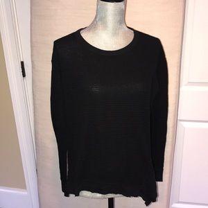 By Wilt black asymmetrical ribbed long sleeve top
